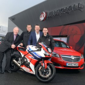 Vauxhall Motors retains pole position as title sponsor of the International North West 200 in 2015. Left to Right: Mervyn Whyte, John McGuinness, Gordon Hannen, Alastair Seeley